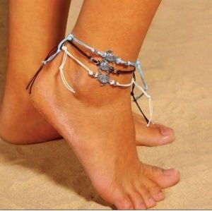 BLACK TURTLE STRING ANKLE JEWELRY